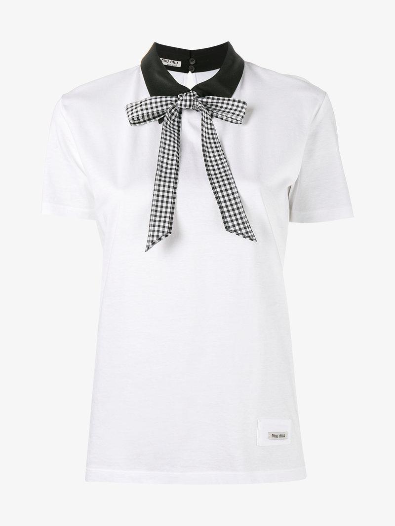 3 stores in stock miu miu collared cotton t shirt modesens for Miu miu t shirt