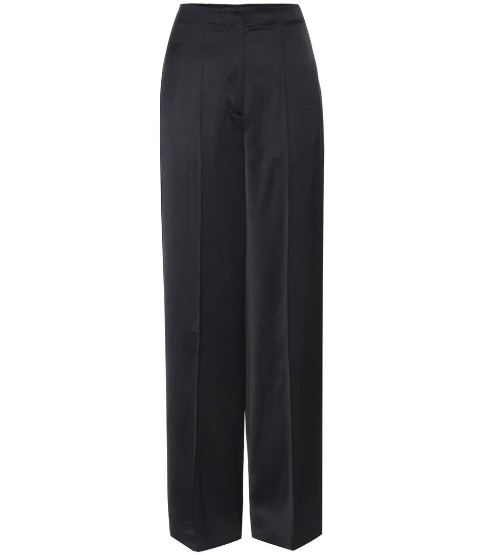 Wide-legged sateen trousers