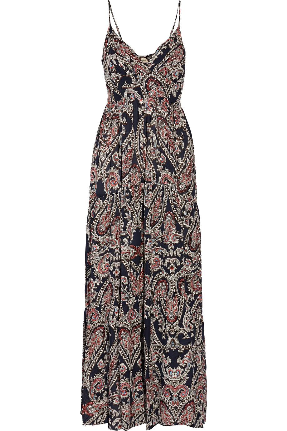 L Agence Silks HONORE SMOCKED PRINTED SILK MAXI DRESS