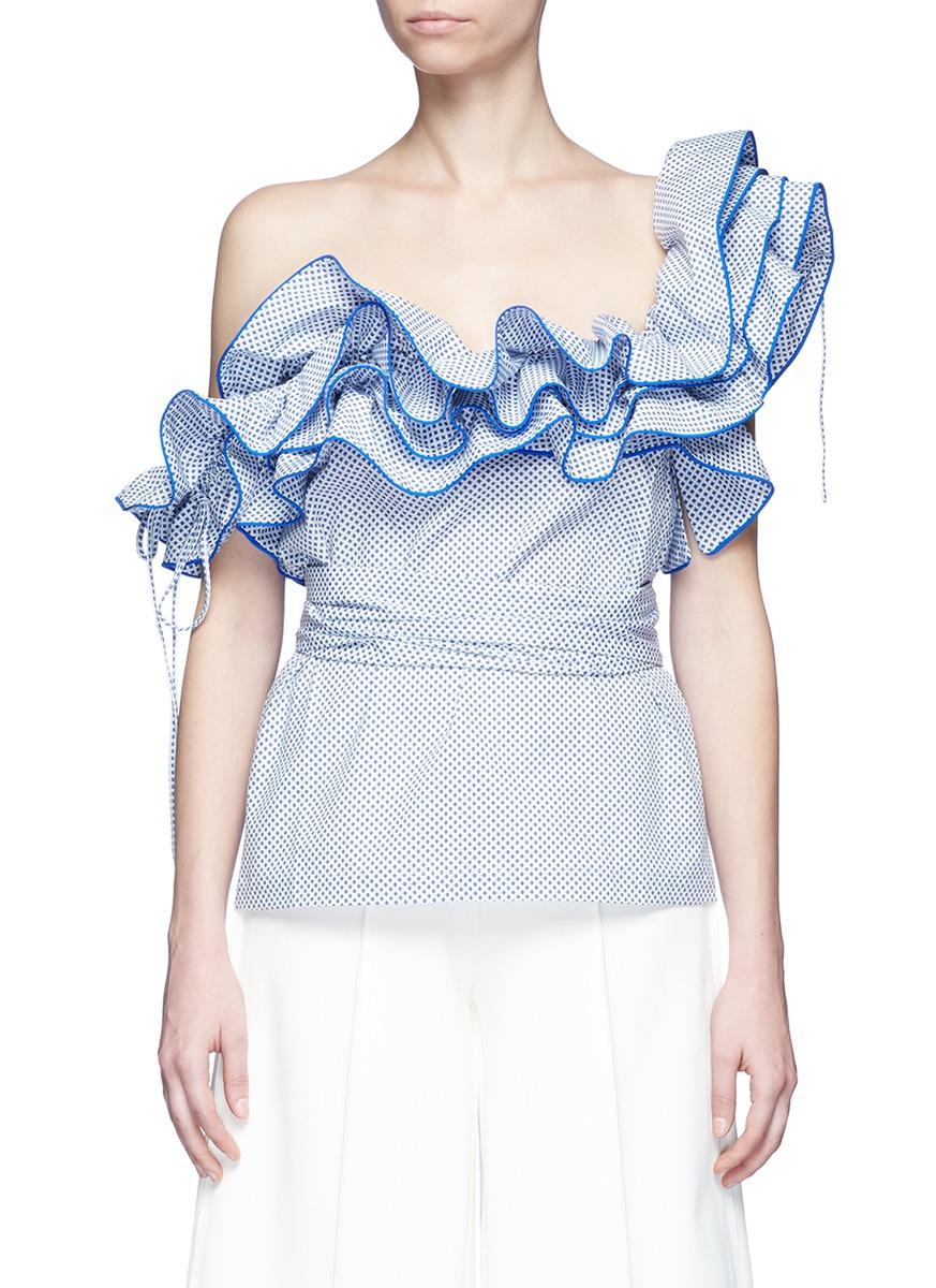 Rosie Assoulin Cottons 'Bearded Iris' diamond print ruffle one-shoulder top