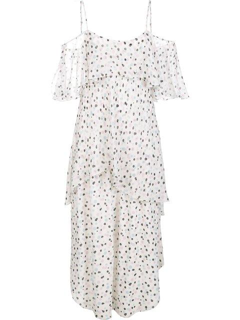 MAIYET TIERED DOT-PRINT SLEEVELESS DRESS