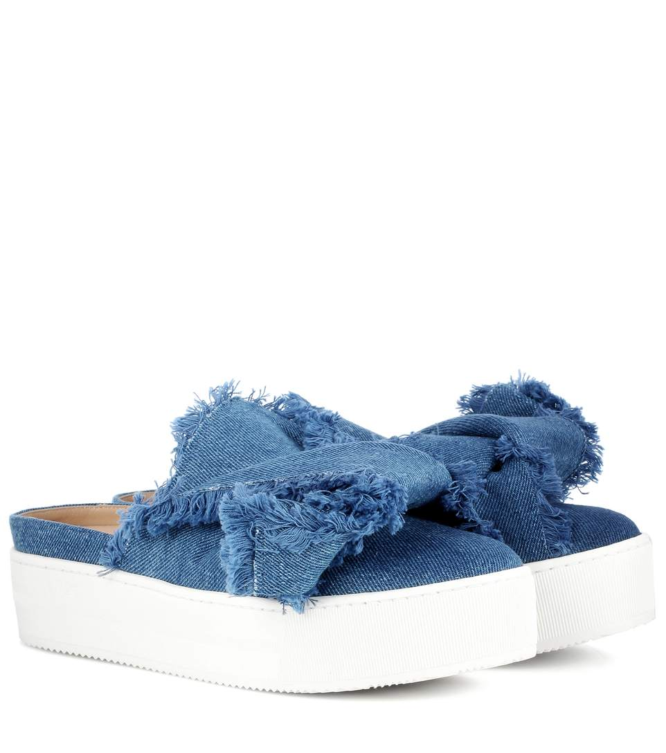 40MM BOW FRINGED DENIM MULES, DENIM