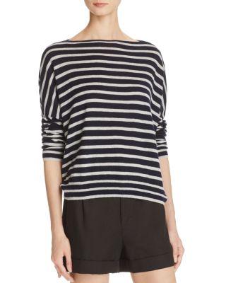 Vince Cashmeres Cashmere Skinny Stripe Boat Neck Sweater