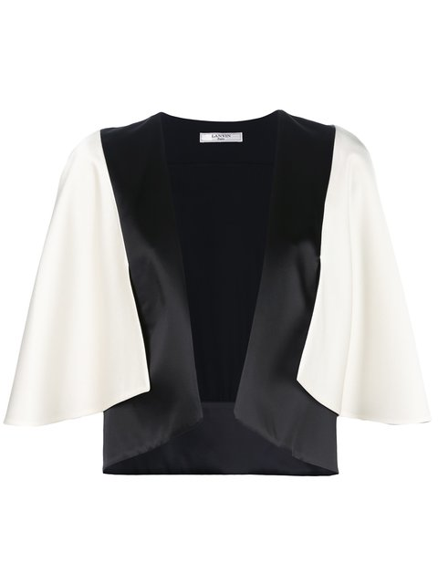 WOMAN CAPE-EFFECT TWO-TONE SATIN JACKET IVORY