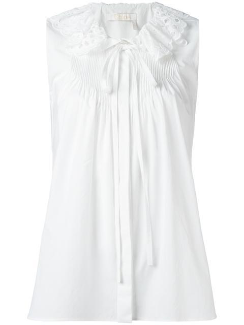 Chloé Cottons CHLOÉ BRODERIE ANGLAISE COLLAR BLOUSE - WHITE