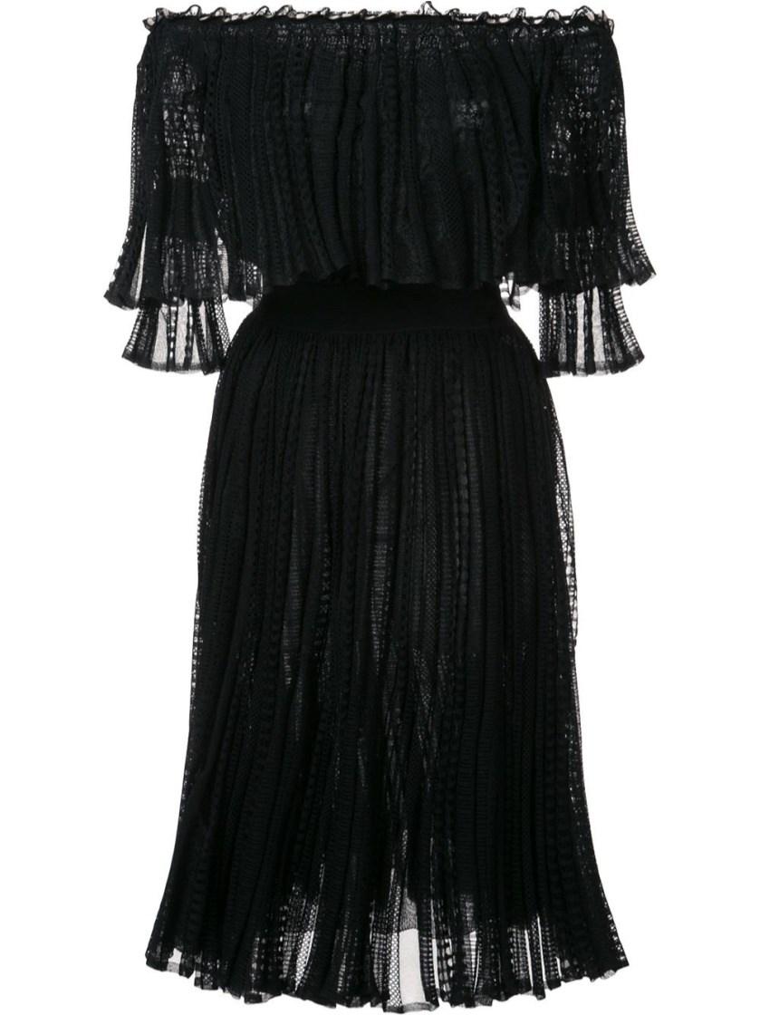 Alexander Mcqueen Silks Off the shoulder knitted lace dress