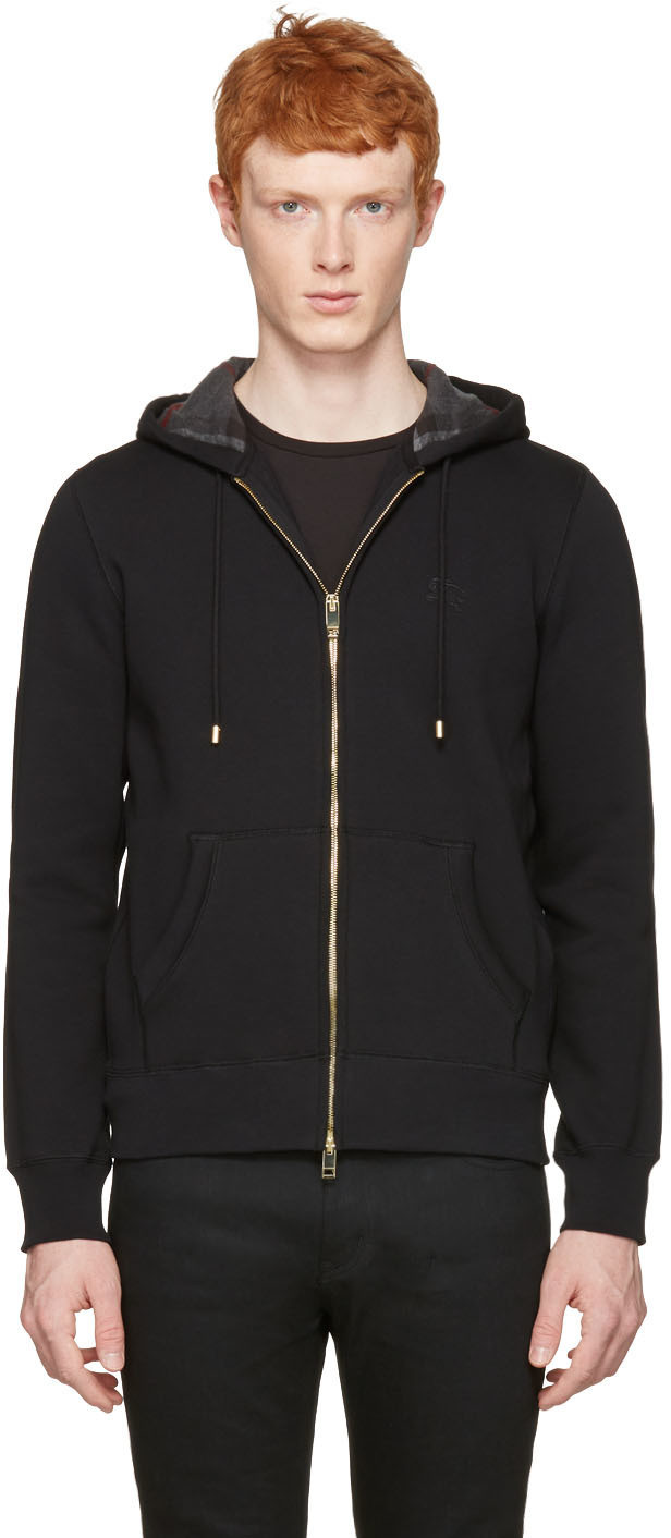 Burberry Cottons Black Claredon Zip Hoodie