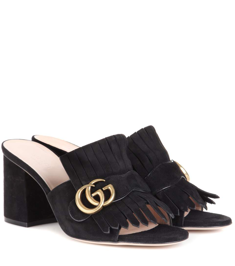 75MM MARMONT GG FRINGED SUEDE MULES