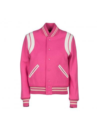 SAINT LAURENT Saint Laurent Pink Virgin Wool Teddy Jacket