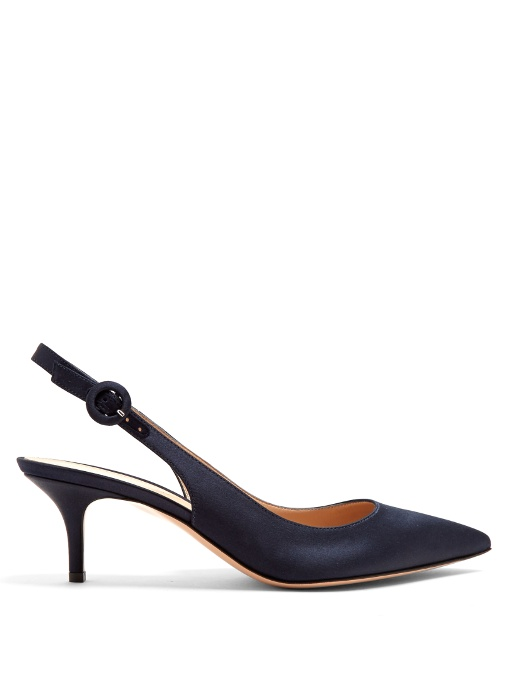 Anna slingback kitten-heel satin pumps