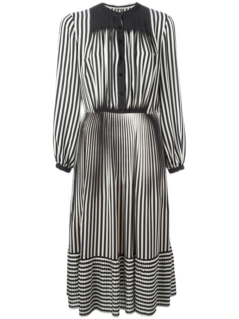 Striped Silk Midi Dress
