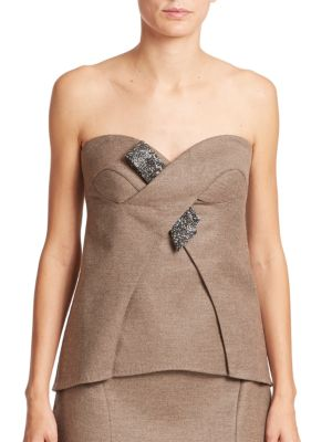 Escada Wools Wool & Cashmere Embellished Bustier Top