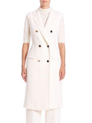 Escada Wools Long Double-Breasted Wool Vest