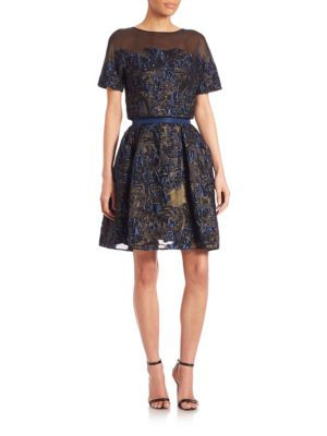 Carolina Herrera Silks Flower Degrade Convertible Cocktail Dress