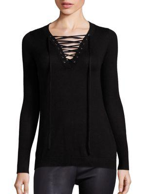 ROI Silk Cash Lace Up Sweater