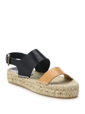Soludos Leathers Two-Tone Leather Platform Espadrilles