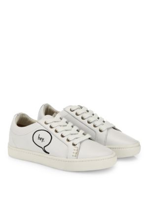 Soludos Leathers Embroidered Speech Bubble Leather Sneakers