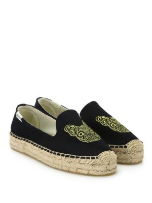 Soludos Canvases Frenchie Embroidered Platform Espadrilles