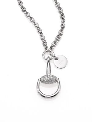 Horsebit Diamond & 18K White Gold Pendant Necklace