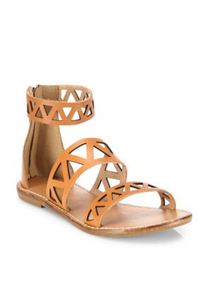 Soludos Leathers Geometric Laser-Cut Leather Sandals