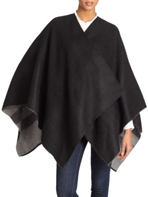 Charlotte Reversible Check Wool Cape