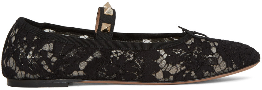 Valentino Leathers Black Valentino Garavani Lace Rockstud Ballerina Flats