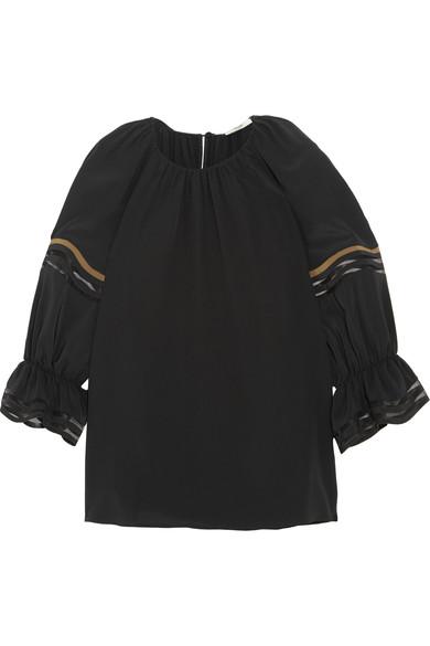 Fendi Silks Mesh-trimmed silk crepe de chine blouse