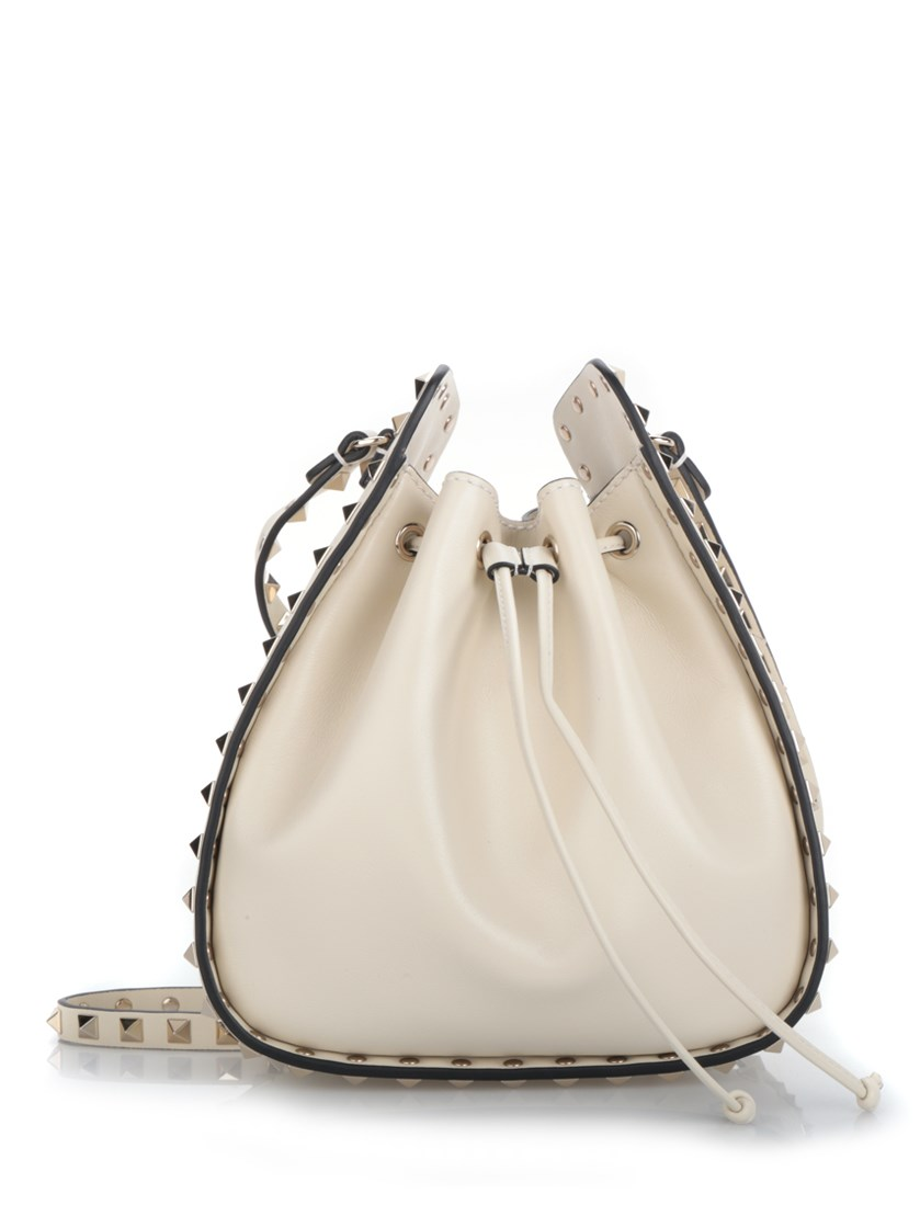 Valentino Leathers White calfskin 'Rockstud' bucket bag
