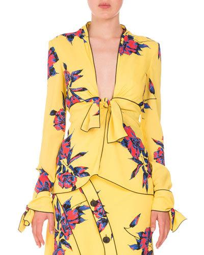 Proenza Schouler Silks LILY-PRINT KNOTTED V-NECK BLOUSE, YELLOW/BLUE