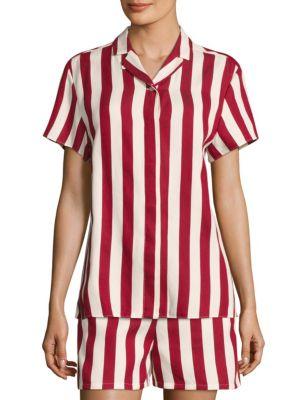 RED VALENTINO Striped Short-Sleeve Shirt