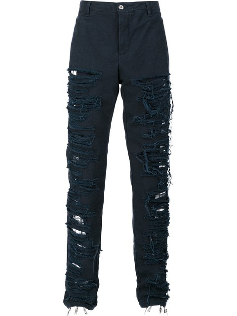 HOOD BY AIR DESTROYED EFFECT TROUSERS