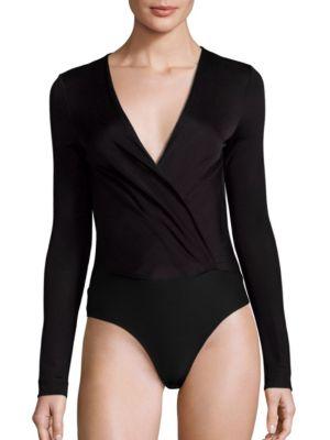 DIANE VON FURSTENBERG Lala Long-Sleeve Surplice Bodysuit