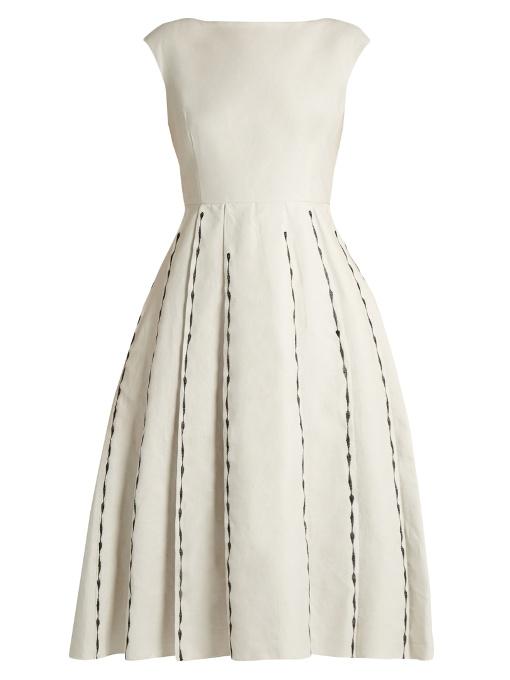 Bottega Veneta Linens Embroidered cap-sleeved linen-blend dress