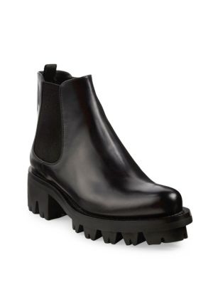 Black Chelsea Leather biker boots