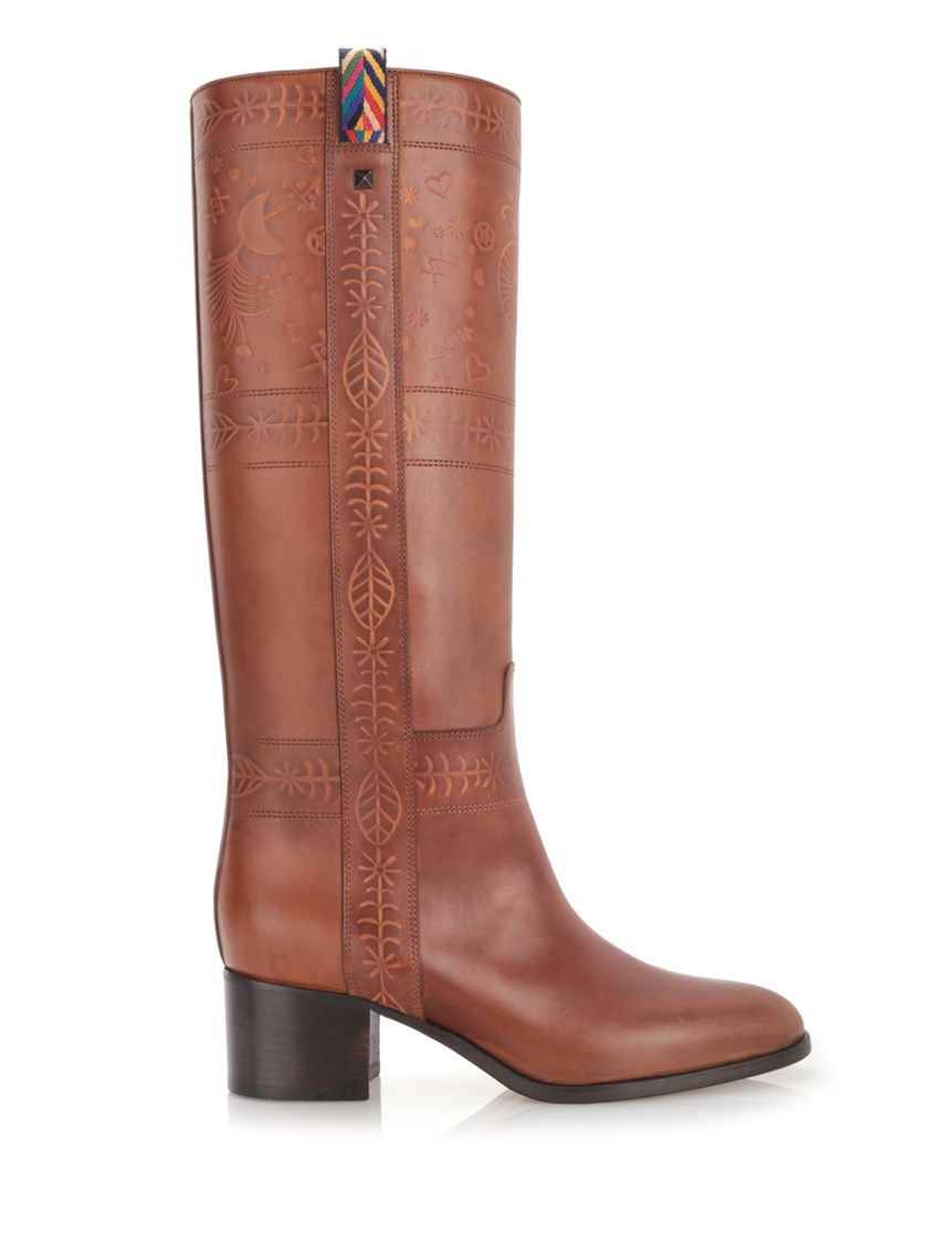 Valentino Leathers Brown engraved boots