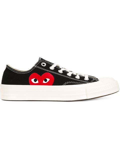 COMME DES GARCONS PLAY CONVERSE LARGE EMBLEM LOW TOP CANVAS SNEAKERS IN BLACK