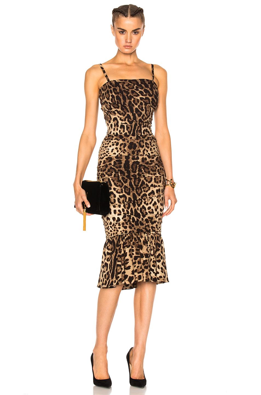 Dolce & Gabbana Silks CADY STRETCH LEOPARD PRINT DRESS IN ANIMAL PRINT, BROWN, NEUTRALS.