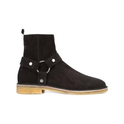 Saint Laurent Nevada 20 Harness Boot In Black Suede Modesens