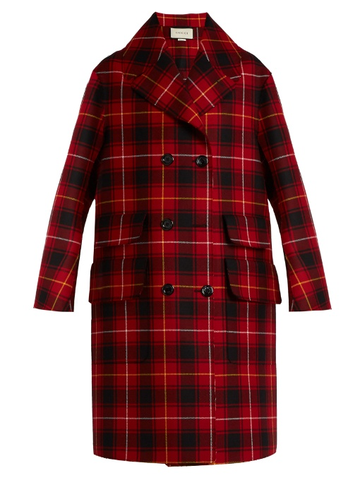 WOMEN'S EMBROIDERED TARTAN WOOL COAT IN RED