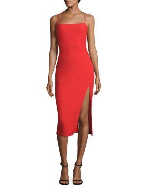 CINQ À SEPT Cairen Side-Slit Slip Dress, Red