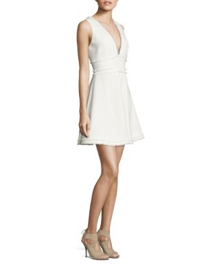 CINQ À SEPT Aurora Fringe-Trim V-Neck Fit & Flare Dress, Ivory