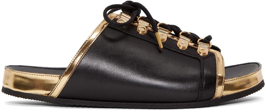 Balmain Leathers Black & Gold Lace-Up Sandals