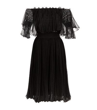 Alexander Mcqueen Silks Puff Lace Off-The-Shoulder Dress