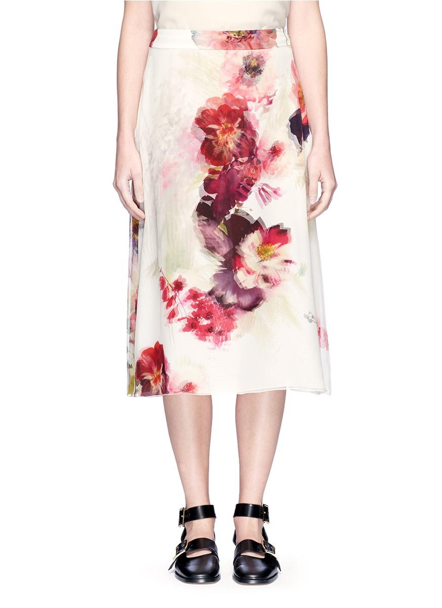 Lanvin Silks Watercolour floral print silk midi skirt