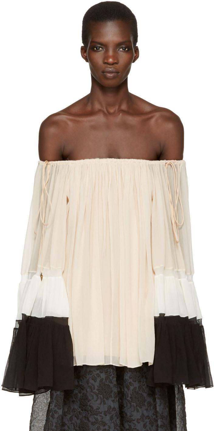 Chloé Silks Tricolor Silk Off-the-Shoulder Blouse