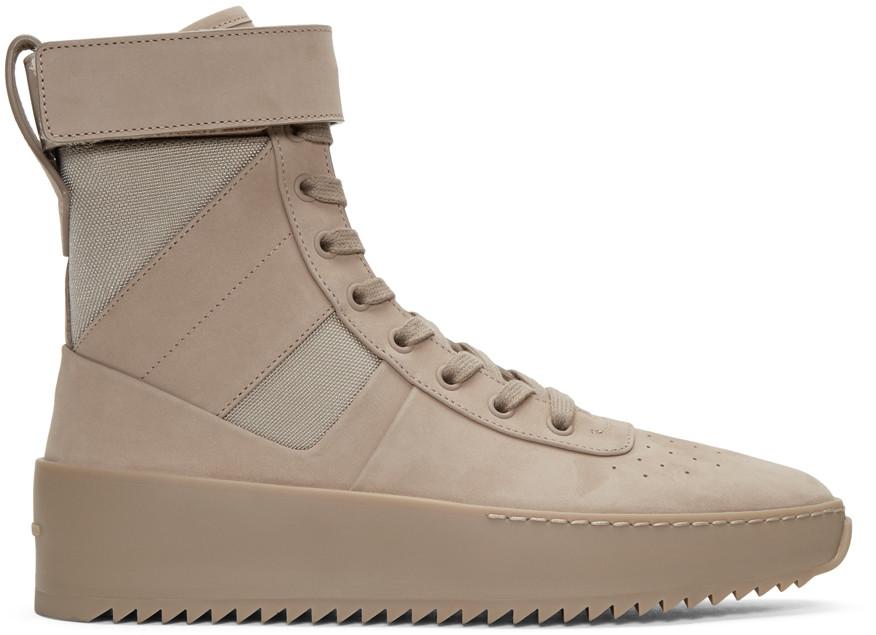 Beige Military High-Top Sneakers