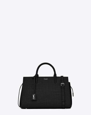 SMALL CABAS RIVE GAUCHE BAG IN BLACK CROCODILE EMBOSSED LEATHER