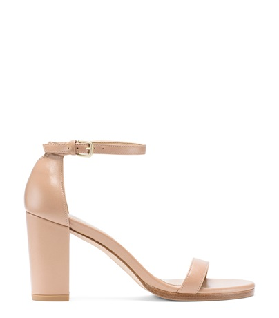 Stuart Weitzman Nearlynude Patent-Leather Sandals, Beige Nappa Leather