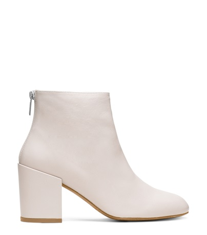 STUART WEITZMAN THE BACARI BOOTIE, GLASS LIGHT GRAY NAPPA LEATHER