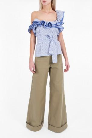 Rosie Assoulin Cottons Ruffle One Shoulder Top